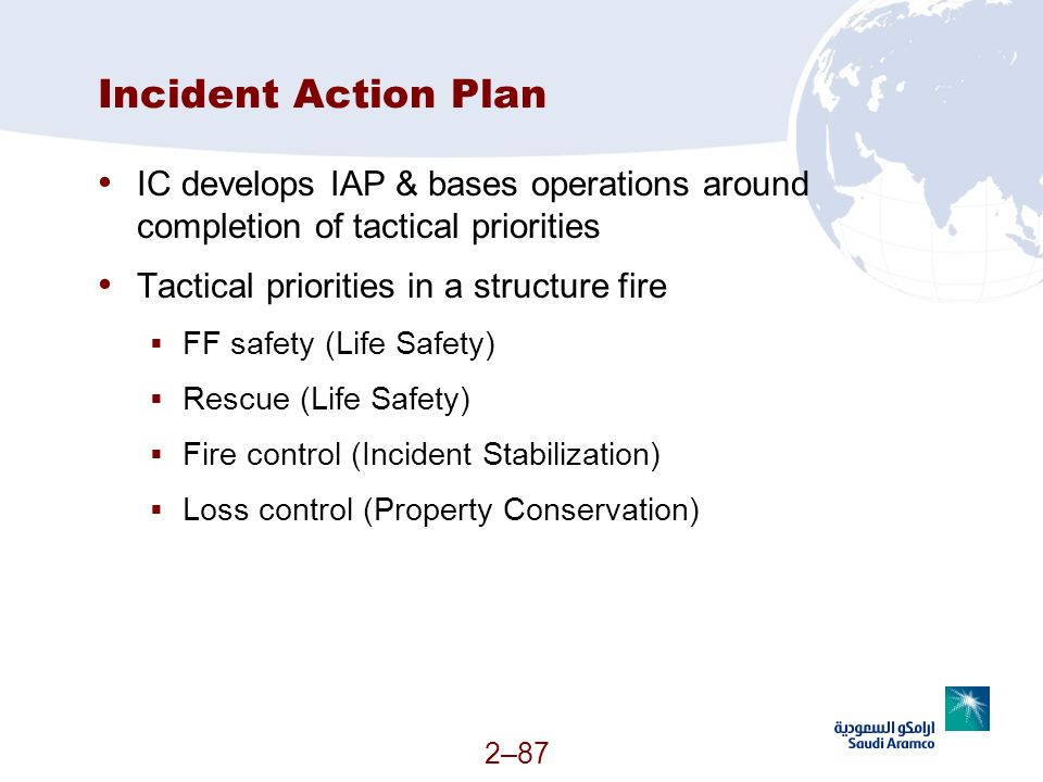 Incident Action Plan IC develops IAP & bases operations around completion of tactical priorities. Tactical priorities in a structure fire.