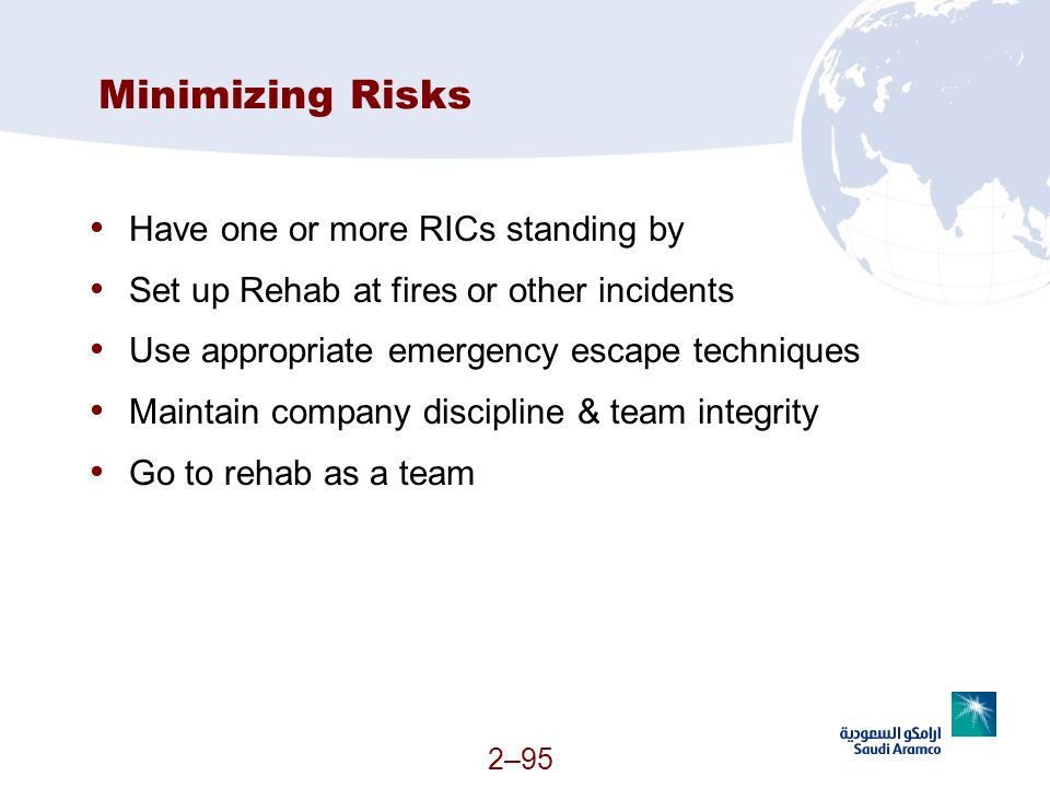 Minimizing Risks Have one or more RICs standing by