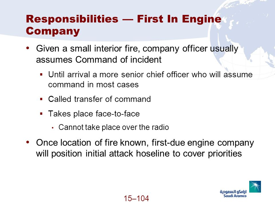Responsibilities — First In Engine Company