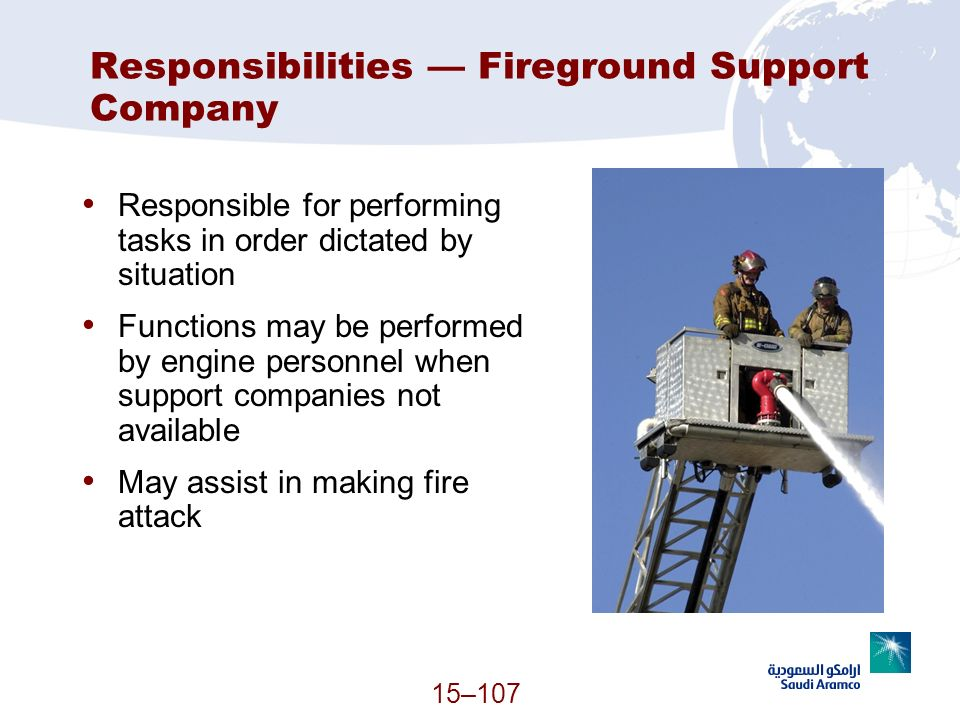 Responsibilities — Fireground Support Company