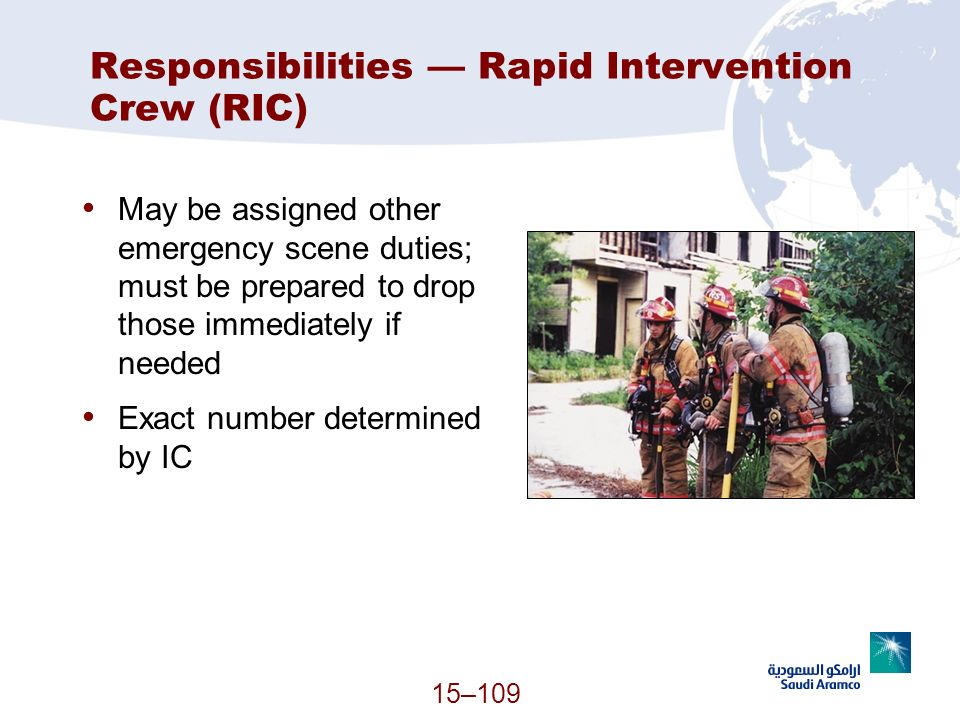 Responsibilities — Rapid Intervention Crew (RIC)