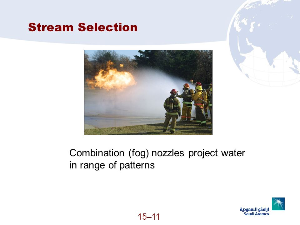 Stream Selection Combination (fog) nozzles project water in range of patterns