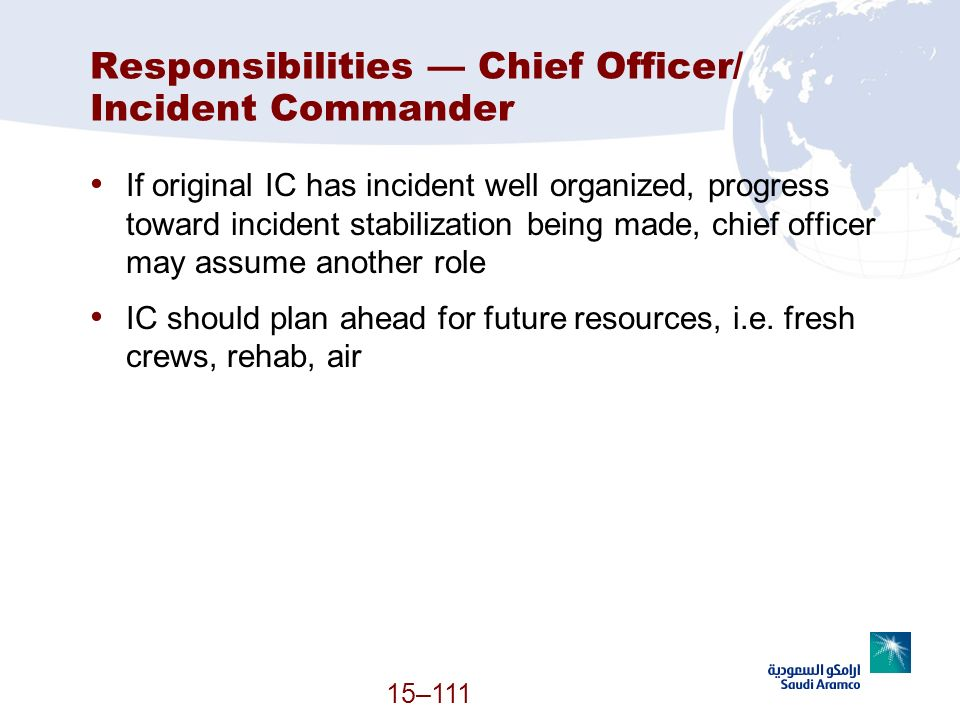 Responsibilities — Chief Officer/ Incident Commander