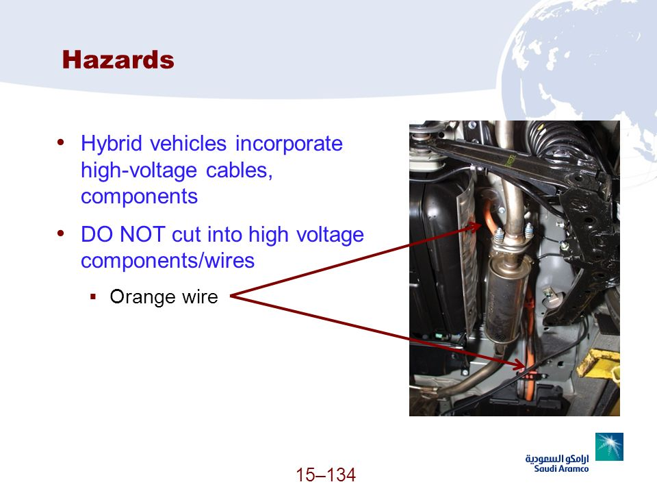 Hazards Hybrid vehicles incorporate high-voltage cables, components