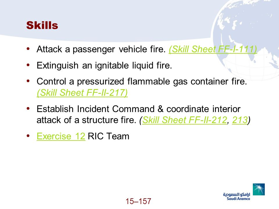 Skills Attack a passenger vehicle fire. (Skill Sheet FF-I-111)