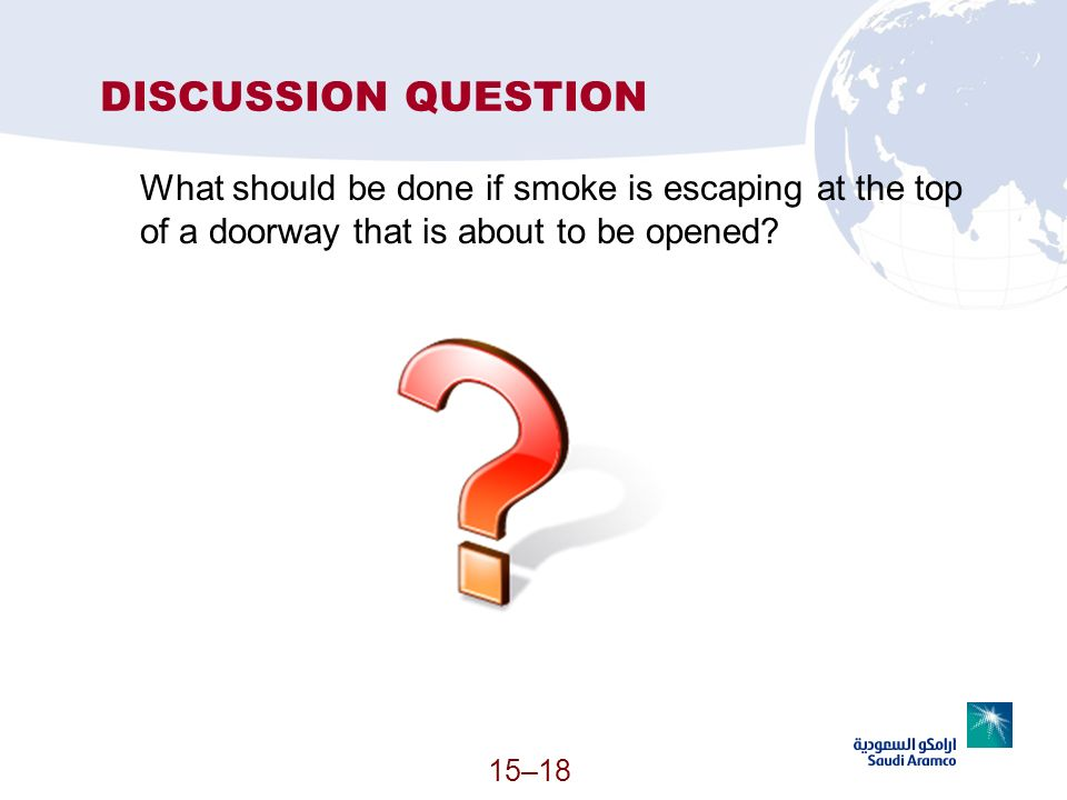 DISCUSSION QUESTION What should be done if smoke is escaping at the top of a doorway that is about to be opened