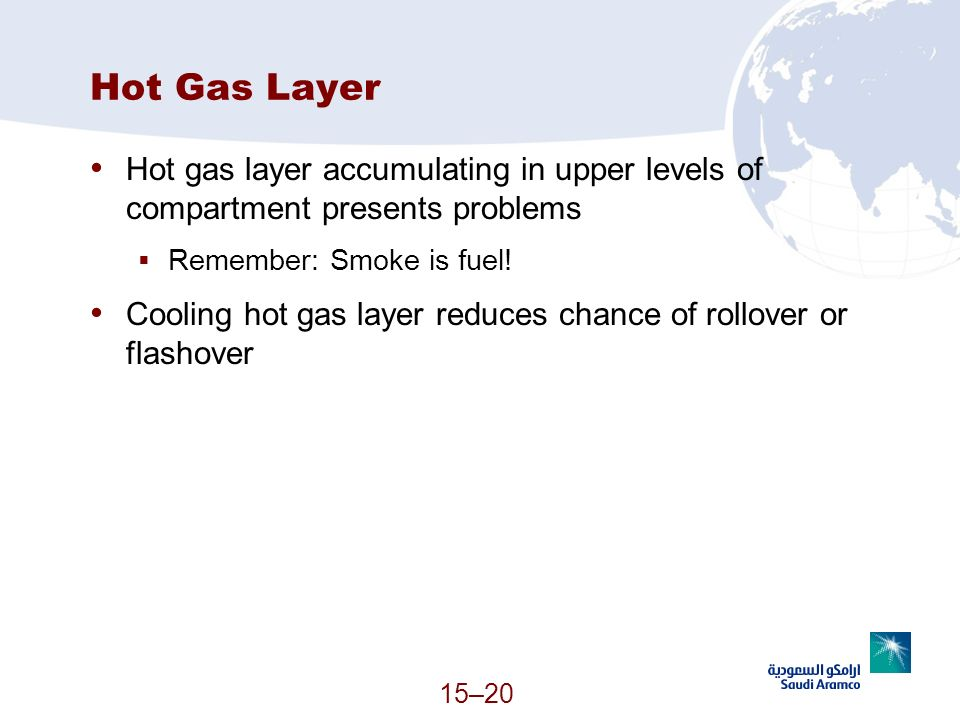 Hot Gas Layer Hot gas layer accumulating in upper levels of compartment presents problems. Remember: Smoke is fuel!