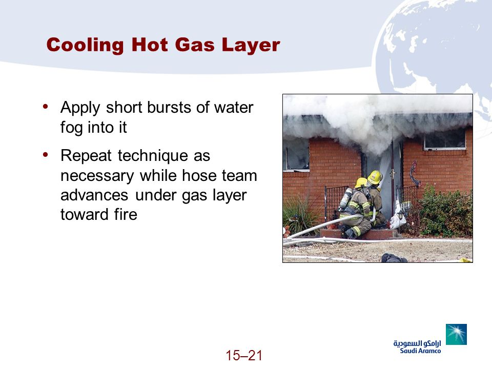 Cooling Hot Gas Layer Apply short bursts of water fog into it