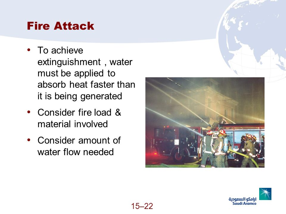 Fire Attack To achieve extinguishment , water must be applied to absorb heat faster than it is being generated.