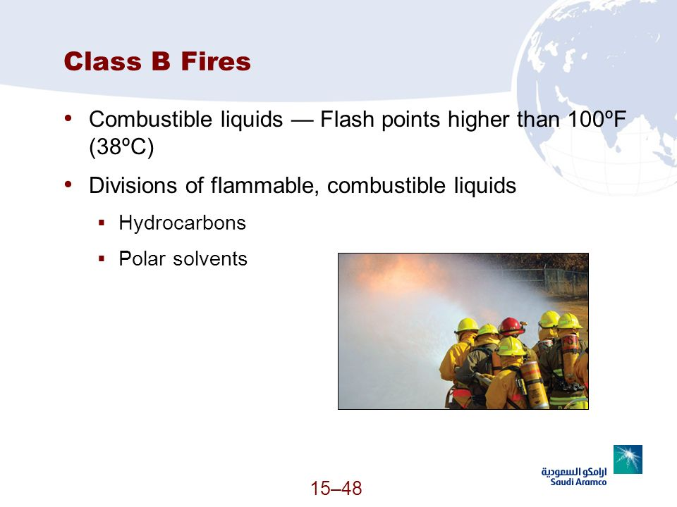 Class B Fires Combustible liquids — Flash points higher than 100ºF (38ºC) Divisions of flammable, combustible liquids.