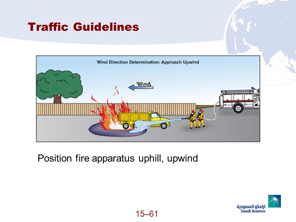 Traffic Guidelines Position fire apparatus uphill, upwind (Continued)