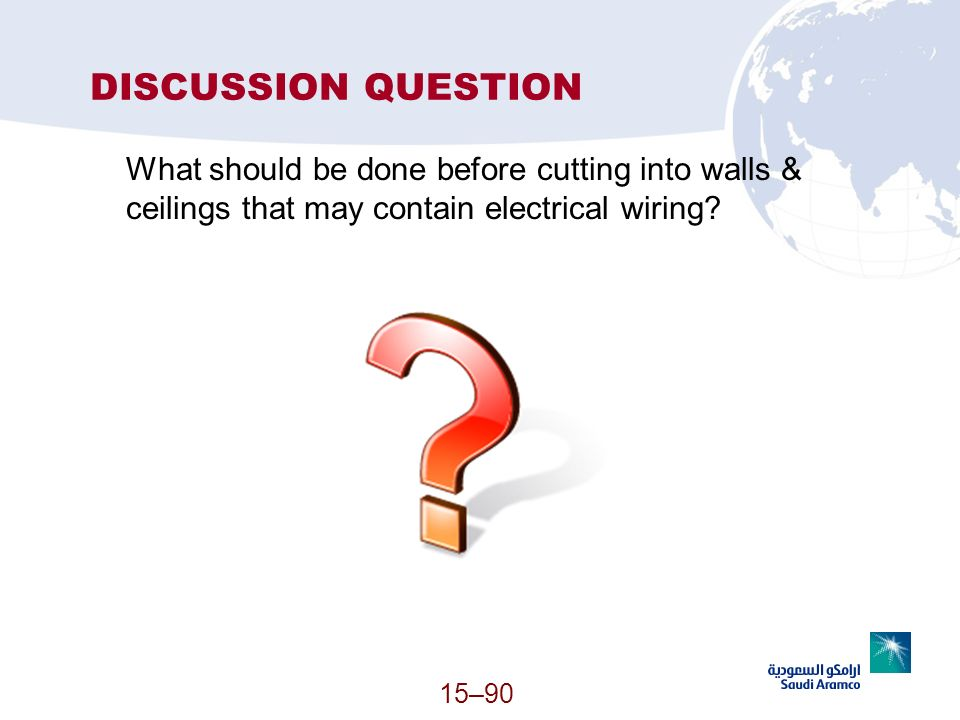 DISCUSSION QUESTION What should be done before cutting into walls & ceilings that may contain electrical wiring