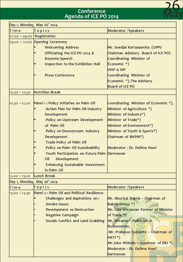Day 1, Monday, May 26' 2014 T i m e. T o p i c s. Moderator /Speakers. 07.00 – 09.00. Registration.