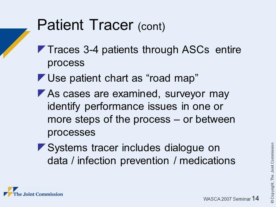 Patient Tracer (cont) Traces 3-4 patients through ASCs entire process