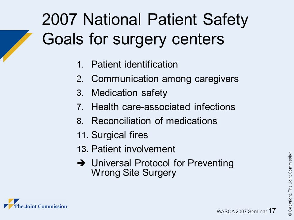2007 National Patient Safety Goals for surgery centers