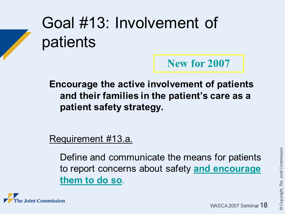 Goal #13: Involvement of patients