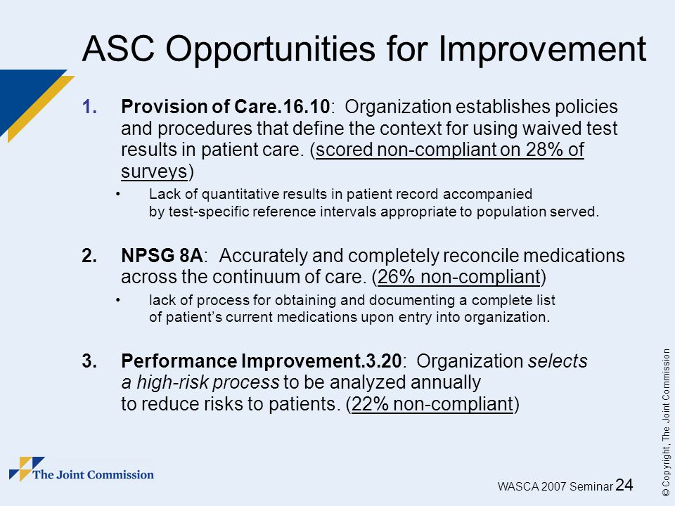 ASC Opportunities for Improvement