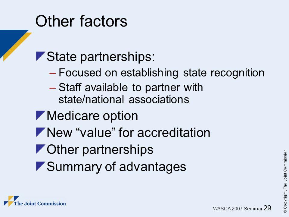 Other factors State partnerships: Medicare option