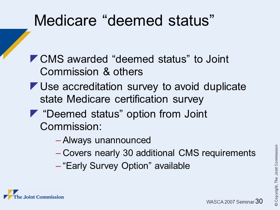 Medicare deemed status