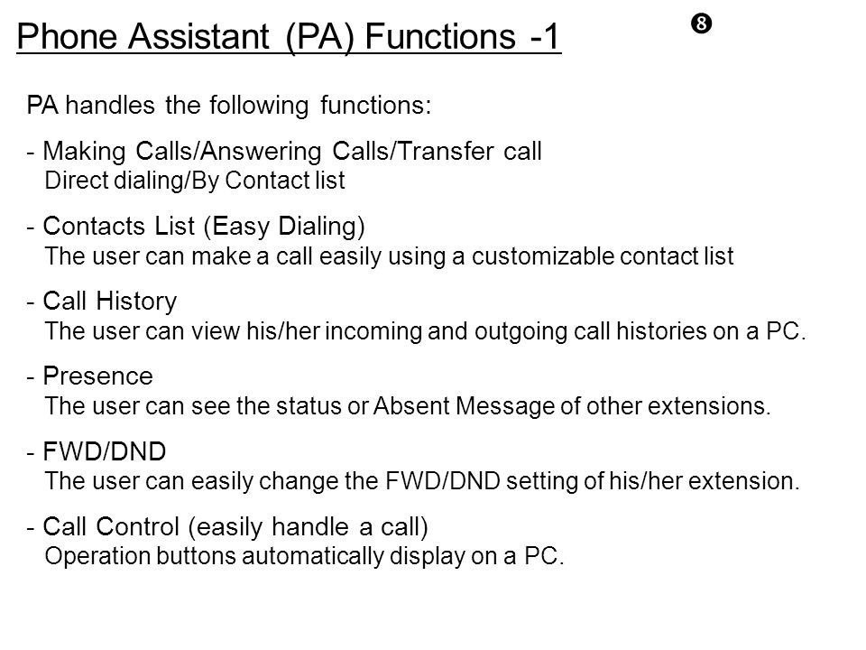 Phone Assistant (PA) Functions -1