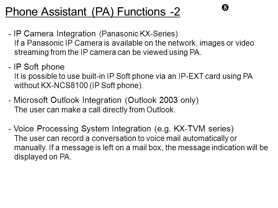 Phone Assistant (PA) Functions -2