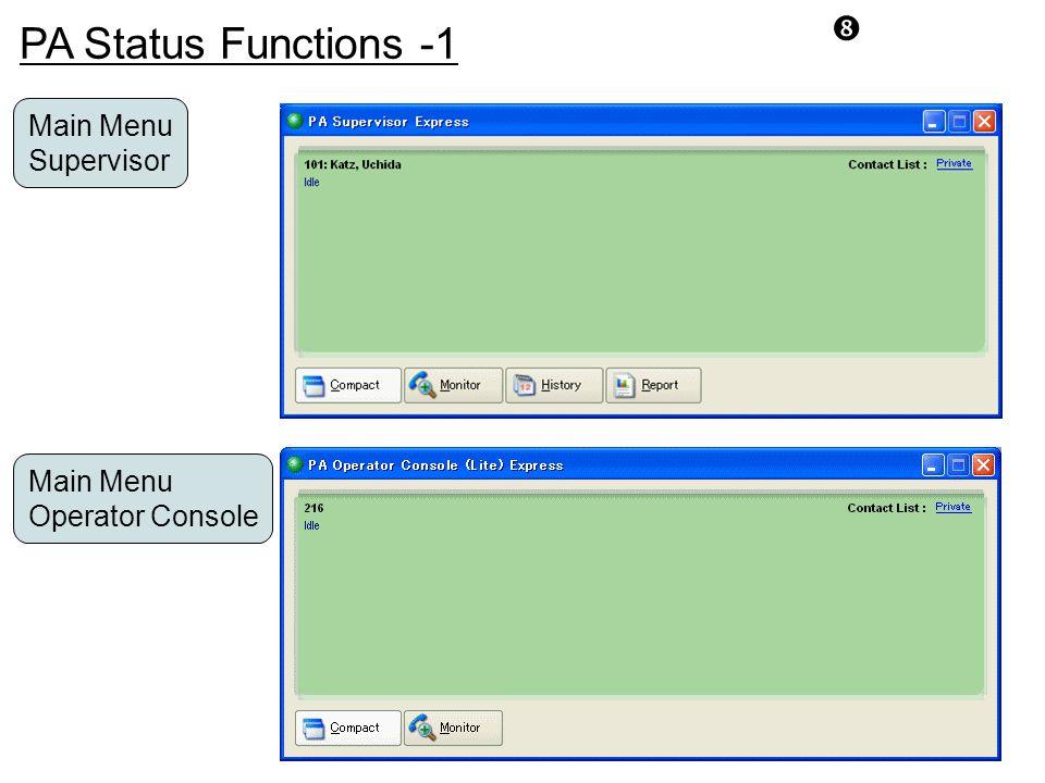 PA Status Functions -1 Main Menu Supervisor Main Menu