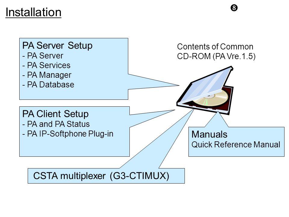 Installation PA Server Setup PA Client Setup Manuals