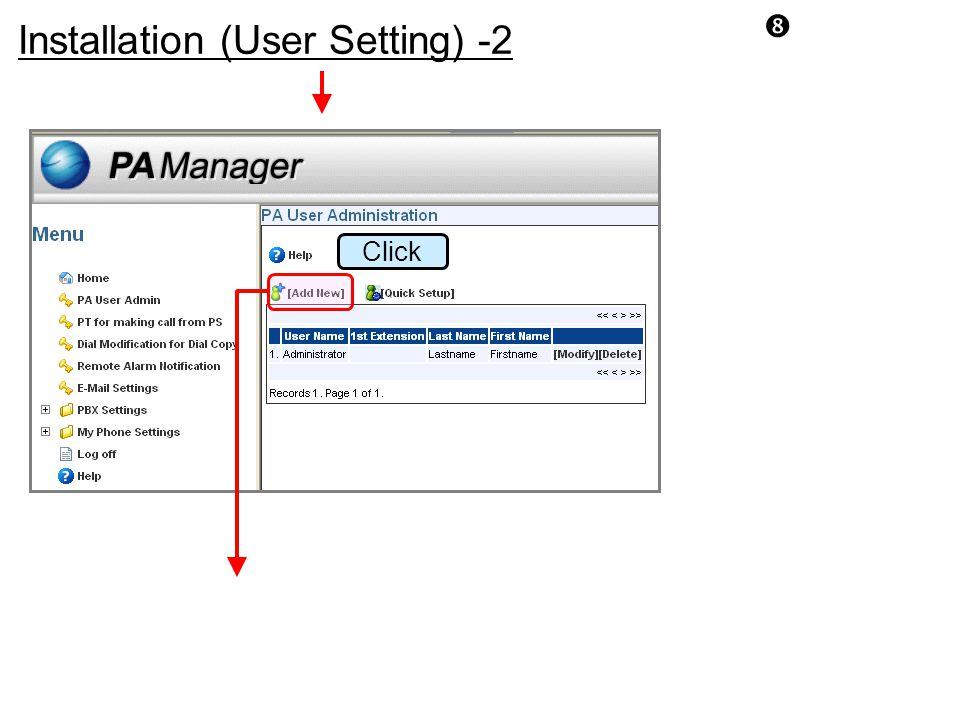 Installation (User Setting) -2