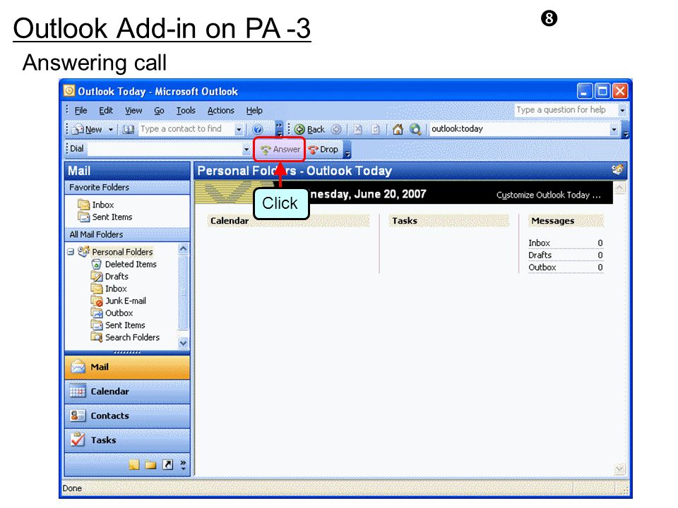 Outlook Add-in on PA -3 Answering call Click