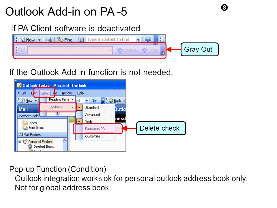 Outlook Add-in on PA -5 If PA Client software is deactivated