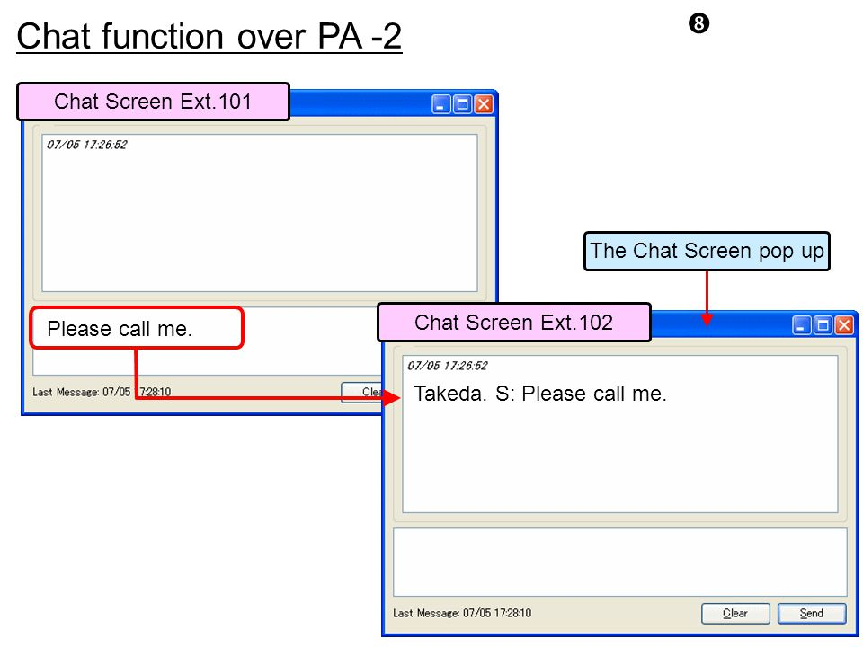 Chat function over PA -2 Chat Screen Ext.101 The Chat Screen pop up