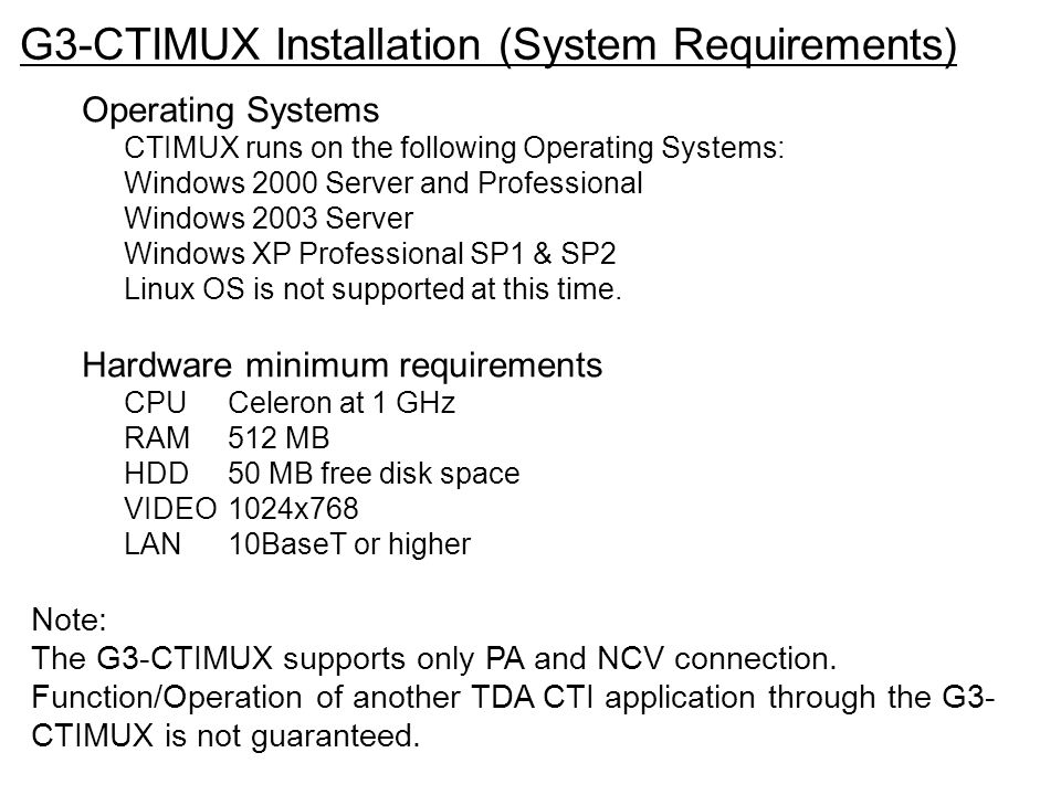G3-CTIMUX Installation (System Requirements)