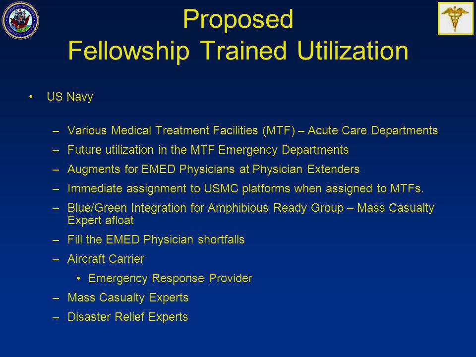 Proposed Fellowship Trained Utilization