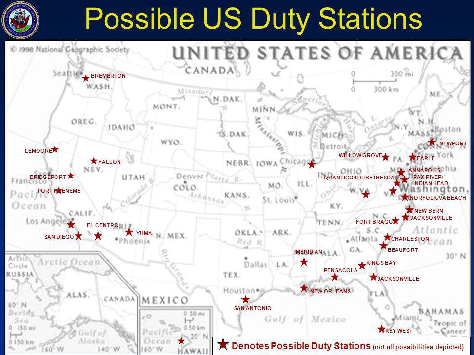 Possible US Duty Stations