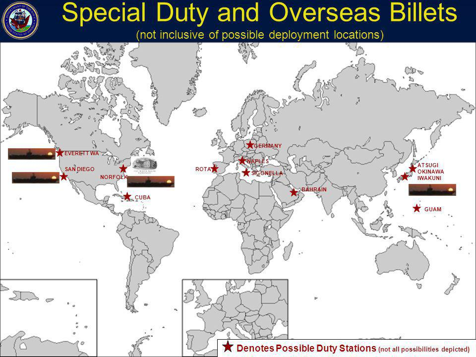 Special Duty and Overseas Billets (not inclusive of possible deployment locations)