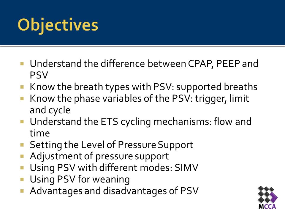 Objectives Understand the difference between CPAP, PEEP and PSV