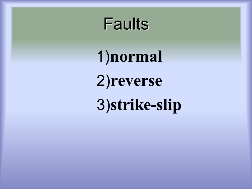 Faults 1)normal 2)reverse 3)strike-slip