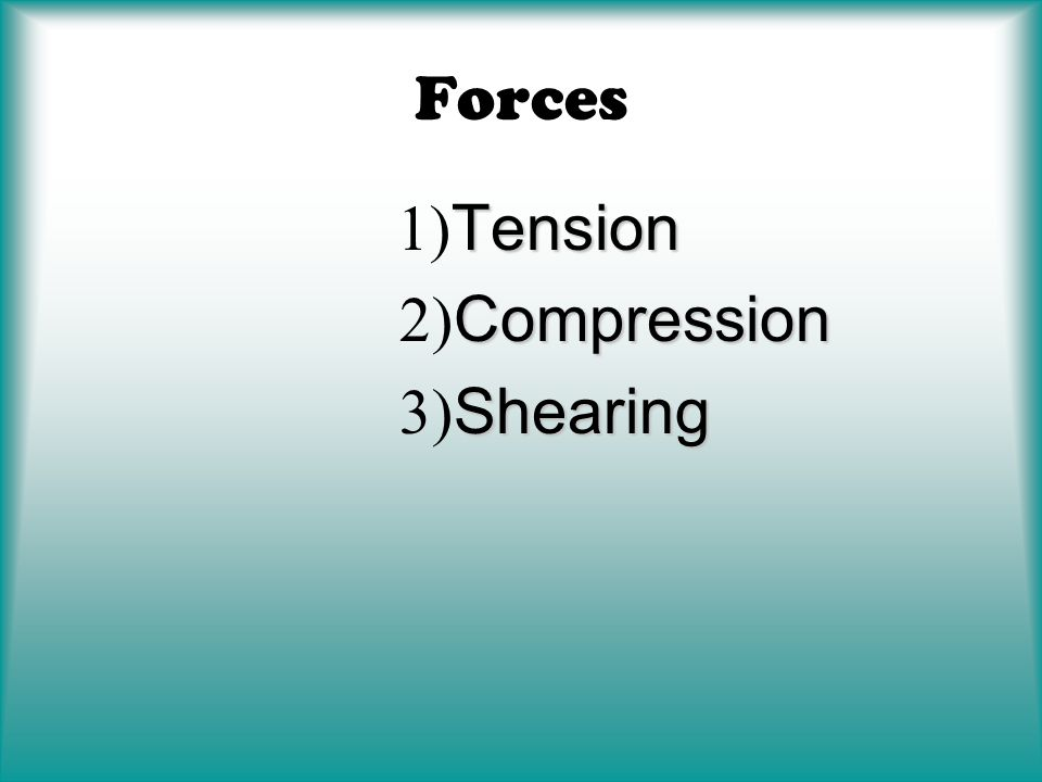 Forces 1)Tension 2)Compression 3)Shearing