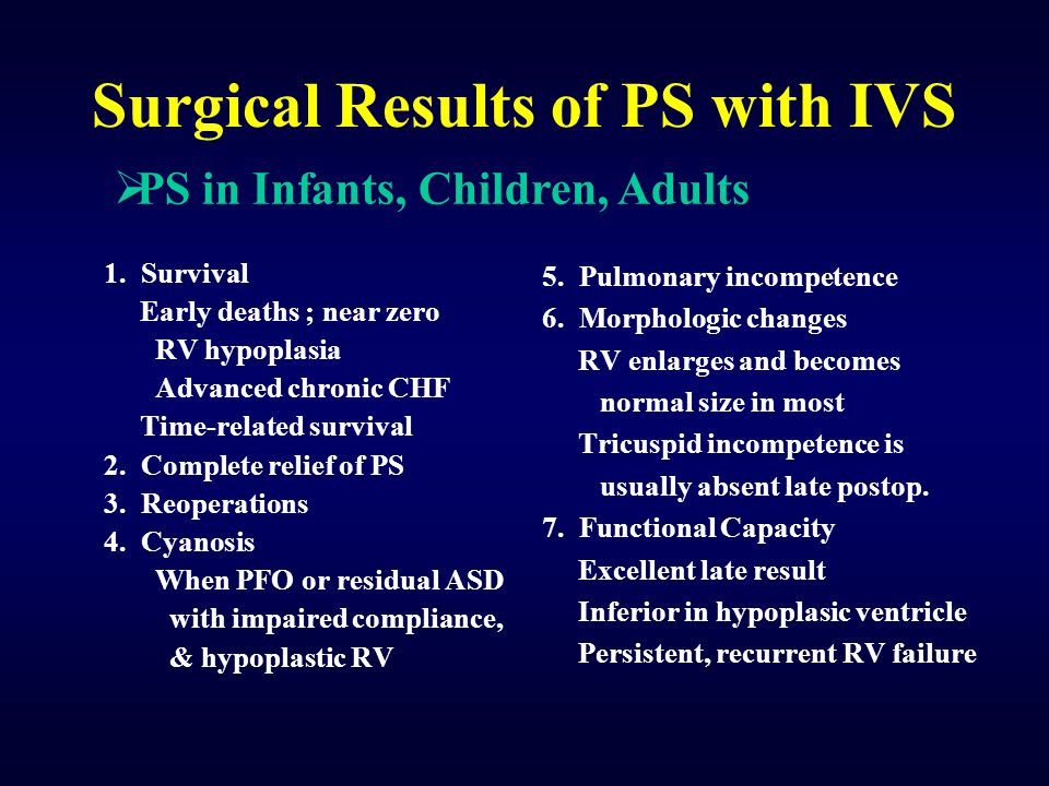 Surgical Results of PS with IVS