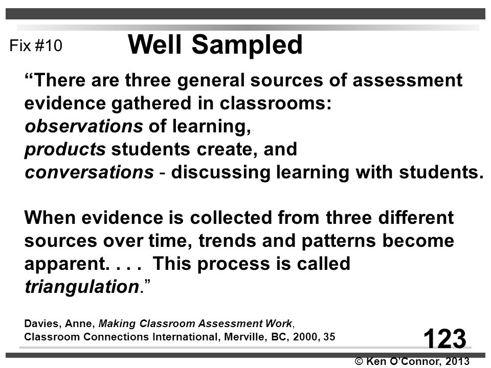 Well Sampled 123 There are three general sources of assessment