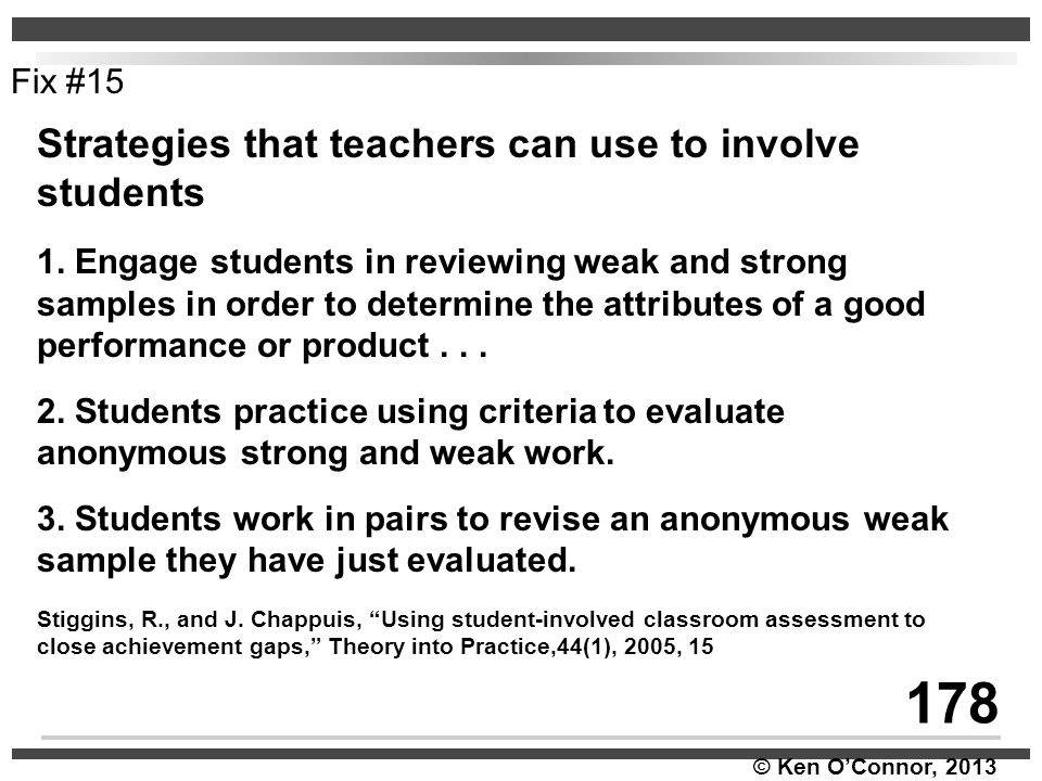 178 Strategies that teachers can use to involve students Fix #15