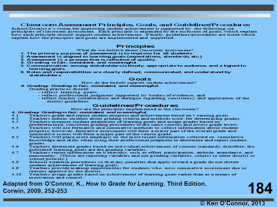 Adapted from O'Connor, K., How to Grade for Learning, Third Edition,