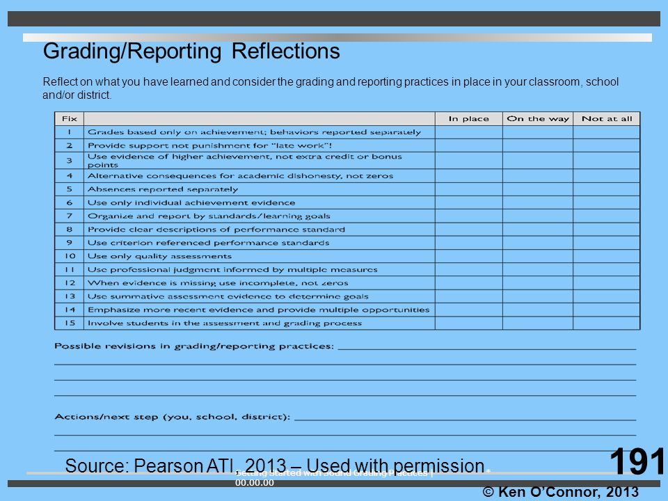 191 Grading/Reporting Reflections
