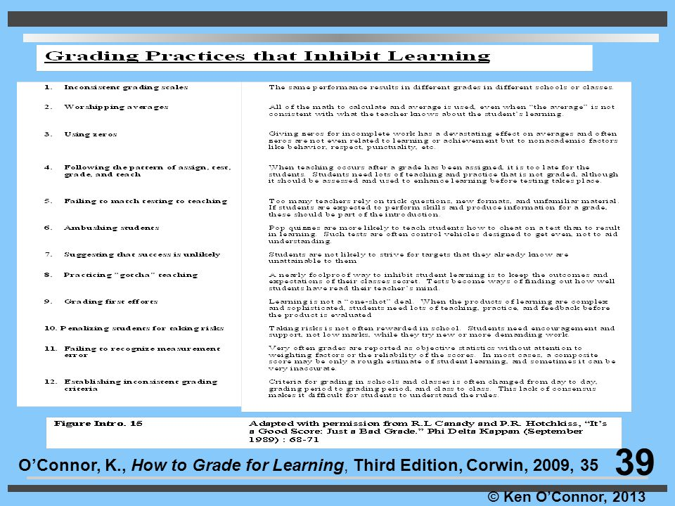 39 O'Connor, K., How to Grade for Learning, Third Edition, Corwin, 2009, 35