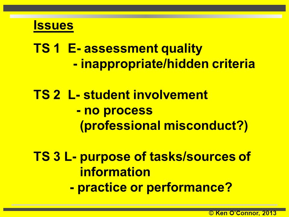 Issues TS 1 E- assessment quality. - inappropriate/hidden criteria. TS 2 L- student involvement.