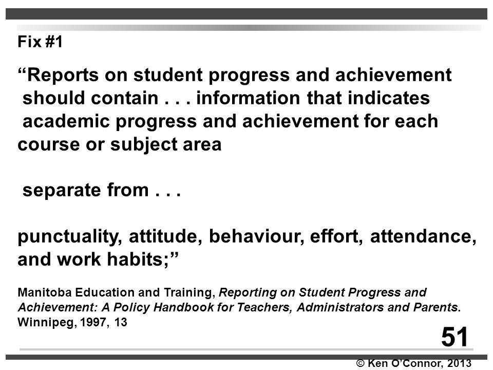 51 Reports on student progress and achievement