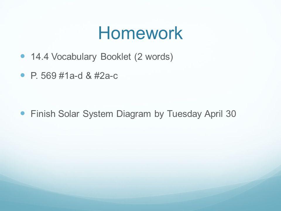 Homework 14.4 Vocabulary Booklet (2 words) P. 569 #1a-d & #2a-c