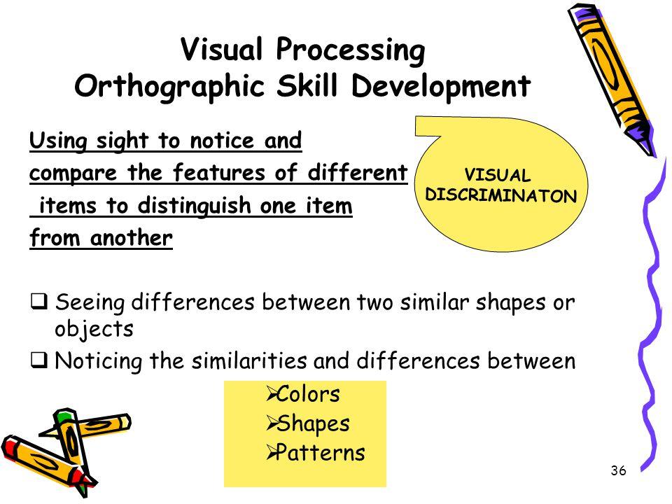 Visual Processing Orthographic Skill Development