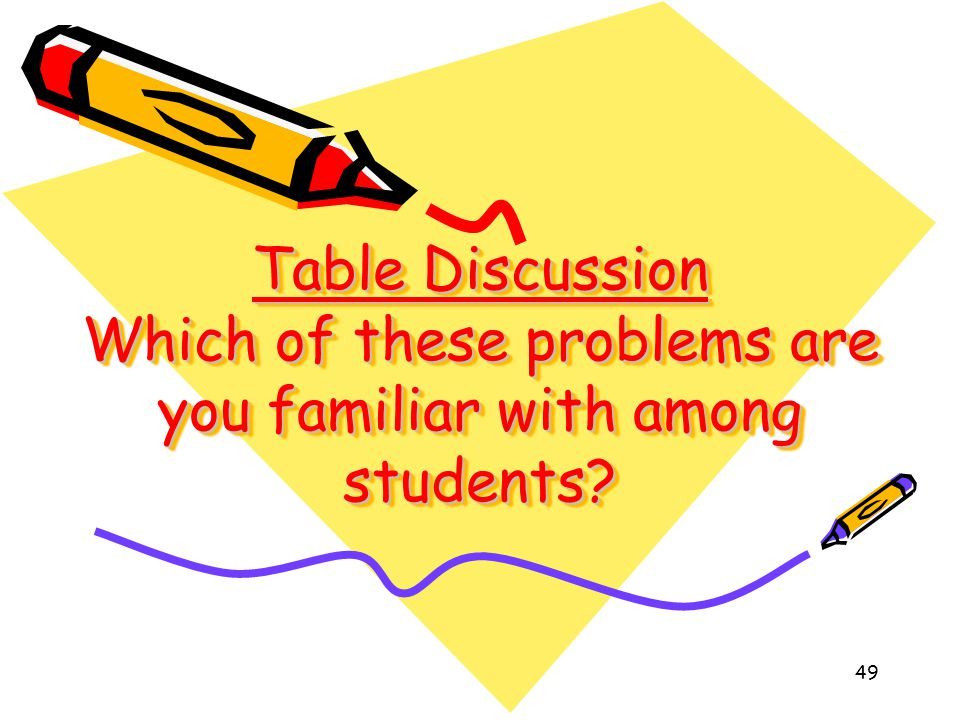 Table Discussion Which of these problems are you familiar with among students