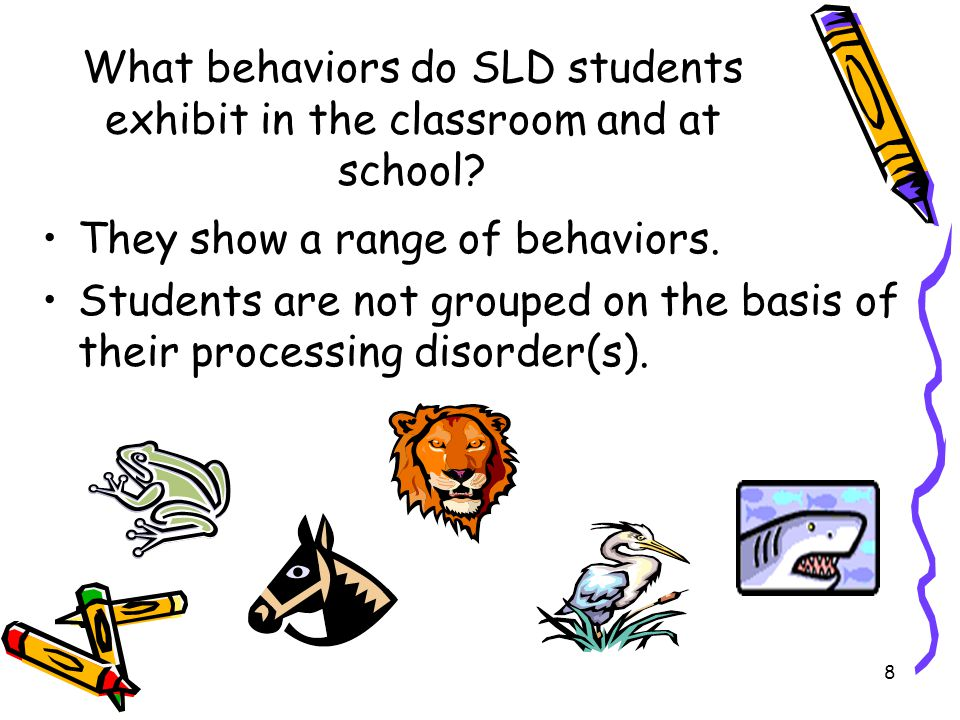 What behaviors do SLD students exhibit in the classroom and at school